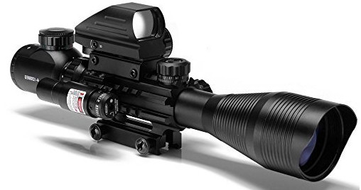 Aipai 3 in 1 Rifle Scope C4-12x50EG Dual Illuminated for AR15